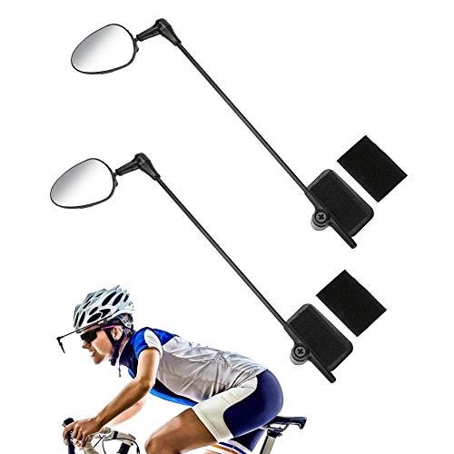 2 Pack Bike Helmet Mirror, 360 Degree Adjustable Bicycle Rear View Mirror Lightweight Bike Mirror for Cycling