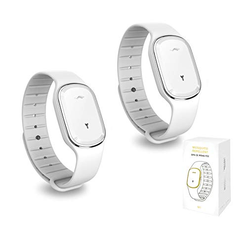 LUOWAN Ultrasonic Electronic Mosquito Repellent Bracelet Wristband, Non-Toxic Insect Anti Mosquito Wristbands with USB Rechargeabl Suitable for Adults Children Indoors and Outdoors (2, White)