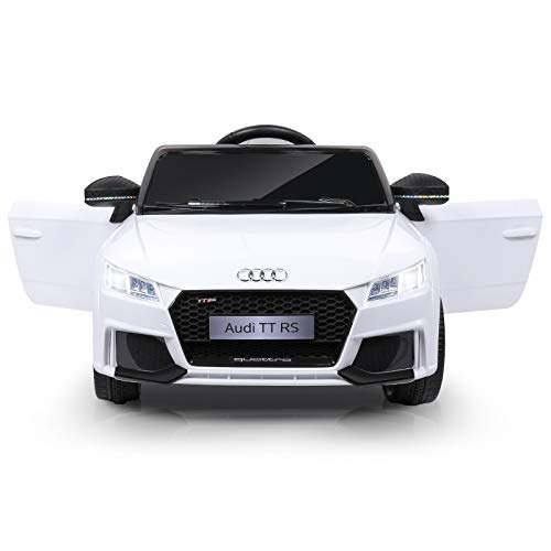 METAKOO Ride on Car Licensed Audi TT RS, 12V Kids Electric Motorized Car with 2.4G Remote Control, LED Lights, High/ Low Speed, Horn, Safety Belt, MP3 Music Player, AUX &USB Port-White