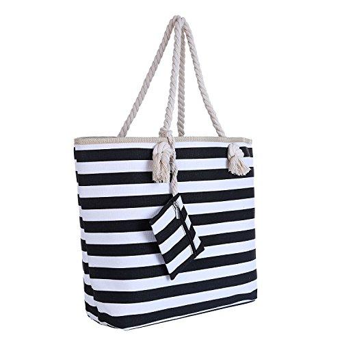 Large Beach Bag with Zipper 58 x 38 x 18 cm Maritime Stripes Black...