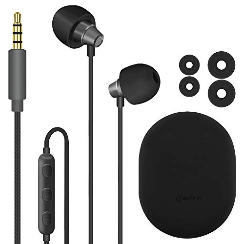 Geekria Sleep Earbuds, Noise Isolating Ear Plugs, Mini Comfy ASMR Sleeping Earphone, Fit for Light Sleep, Insomnia, Side Sleep, Air Travel, for with Microphone and Volume Control, (Gray)
