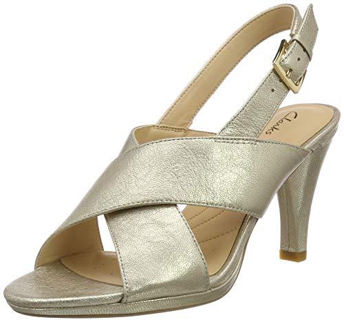 Clarks Women's Dalia Lotus Champagne Heeled Sandal-4 UK (26138863)