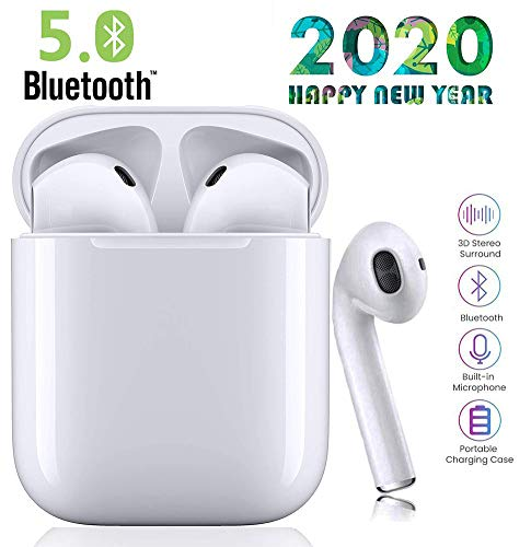 Bluetooth 5.0 Kabellose Kopfhörer, Bluetooth-Ohrhörer mit Mikrofon, automatische Kopplung, Noise Cancelling 3D Stereo IPX5 wasserdichte Sport-Headset Kompatibel mit Android/Apple/iPhone
