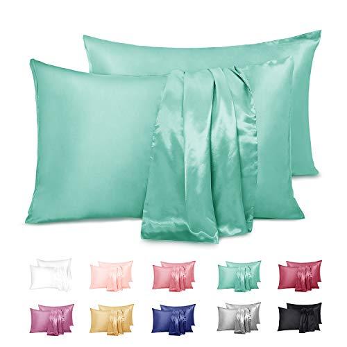 Fundas de almohada de satén, lisas y suaves hipoalergénica 50 x 91 cm –varios colores