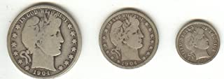 Barber Coins, 3 Different , Half Dollar, Quarter, Dime, Silver, Antique, Investment