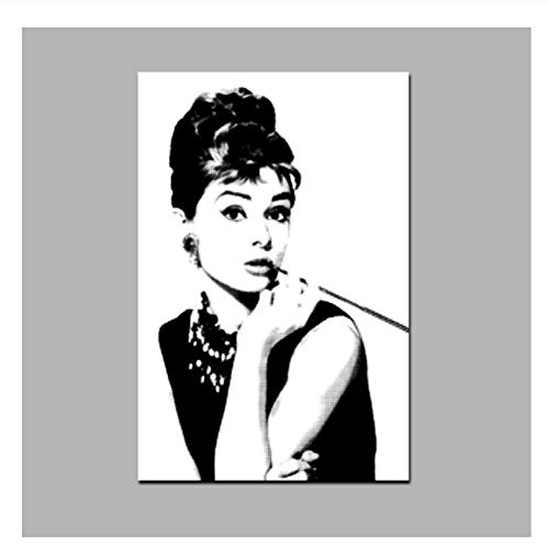 Audrey Hepburn Portrait auf Leinwand Wand HD Print Schwarz mit Weiß Kunst Bild Pop Art Gemälde für Wohnzimmer Cuadro Decoration-50x70cm No Frame