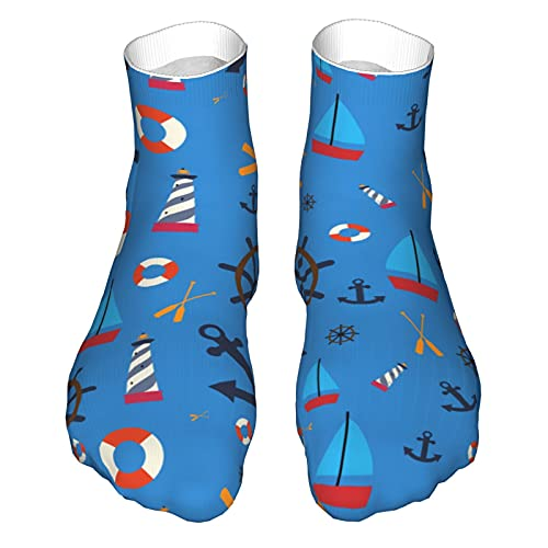 OUYouDeFangA Lifebuoy Anchor Sailor Pattern Calcetines de algodón para adultos, calcetines cortos para yoga, senderismo, ciclismo, correr, fútbol, deportes