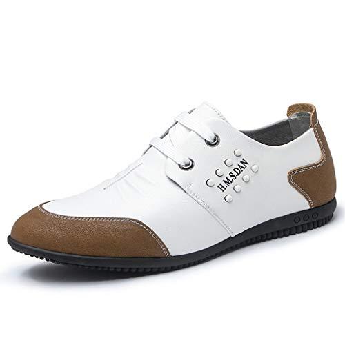 JXILY Holgazanes Zapatos de Cuero Ocasionales Hombres Zapatos Cómodos Ligera Conduce los Zapatos Mocasines Zapatos,Blanco,38