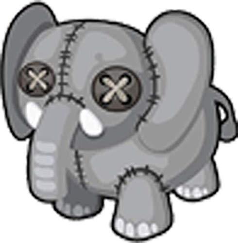 "Simple Homemade Stitched Stuffed Animal Cartoon Vinyl Sticker (2"" Tall, Elephant)"