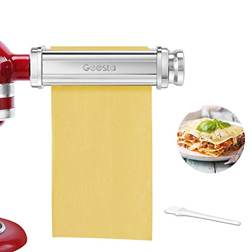 Geesta Pasta Roller attachment for Kitchenaid Stand Mixer Homemade Sheets Tools Stainless Steel Fresh Pasta perfect for Ravioli, Dumplings, Lasagna, Tortilla