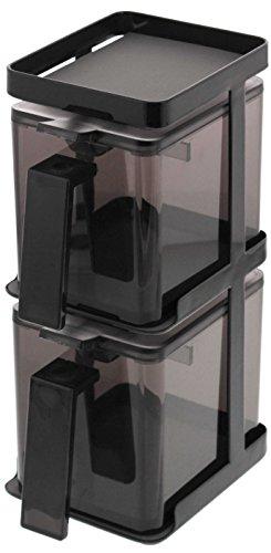 山崎実業 お手入れ簡単 省スペース 調味料ラック 調味料入れ 調味料ストッカー 2個 & ラック3段セット スリム タワー ブラック 3653