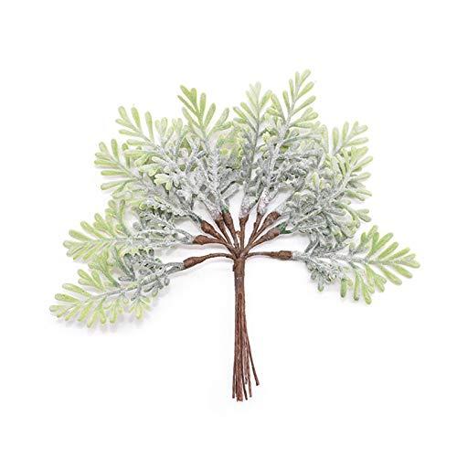 Kunstrose 10/20 / 50 stücke Mini Zypresse Blatt Zweig Künstliche Blumen Pflanze Für Hochzeit Dekoration Ornament Bouquet Girlande DIY Crafts Sträuße (Color : F01, Size : 20pcs)