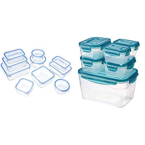 AmazonBasics - Glasbehälter für Lebensmittel, mit Deckel, 20 -teiliges Set(10 Behälter + 10 Deckel), BPA-freie & 6 pcs Food Storage Set