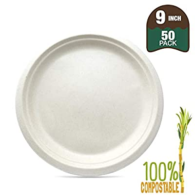 """Biomundi 100% Compostable 9"""" Paper Plates [50-pack] Heavy-duty Quality Natural Disposable Bagasse, Eco-friendly Made Of Sugar Cane Fibers, 9 Inch, Brown Biodegradable"""