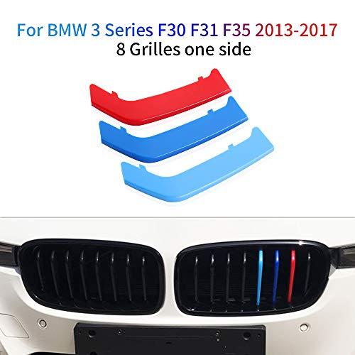 Cobear Für 3 Series F30 F31 F35 2013-2017 Motorsport Nieren Kühlergrill Kappe Schnalle Streifen Trim 3 Stück (8 Stäbe)