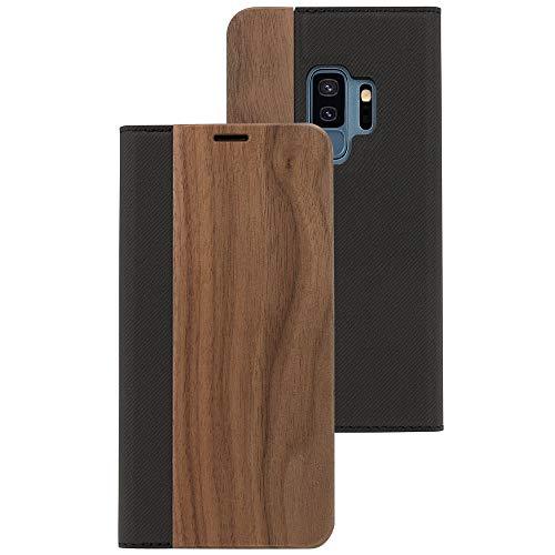 NALIA Legno Custodia a Libro compatibile con Samsung Galaxy S9 Plus, Portafoglio Sottile Wallet Wood Cover Flip-Case Protettiva Ecopelle Protezione Telefono Cellulare Bumper, Colore:Noce