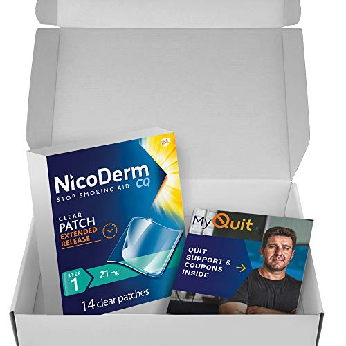 Nicoderm CQ Nicotine Patch with Quit Support System, Clear, Step 1, 21 mg, 10 Weeks Quit Smoking Aid, 14 Count