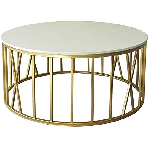 Nordic Coffee Side Tables Natural Marble Desk Top End Table Round Occasional Tea Table for Living Room Or Office, in Golden Legs And White Top, 60/80Cm,80 cm