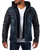 Young & Rich Herren 2in1 Jeans Jacke gefüttert Kontrast blau schwarz mit Kunstleder Ärmeln Kapuze vintage used destroyed double layer Look, Grösse:XL