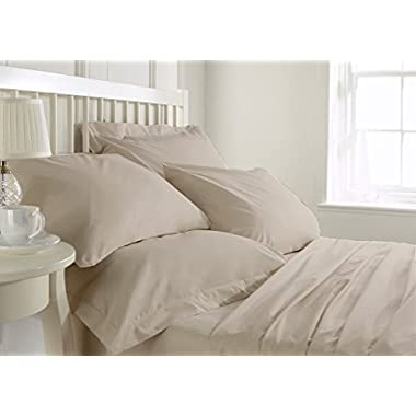 Bluemoon Homes Luxurious 1000 Thread Count Italian Finish 100% Egyptian Cotton 4-Piece Bed Sheet Set, Fits Mattress up to 21 inches Deep Pocket, Solid Pattern (Color - Ivory, Size - Queen).