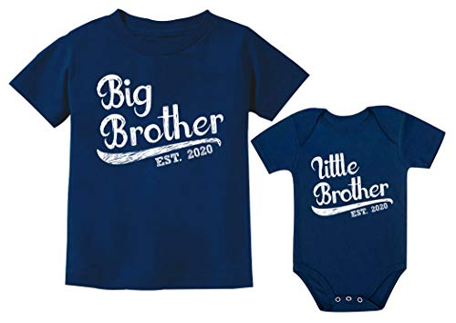 Sibling Shirts Set for Big Brother and Little Brother 2020 Boys Matching Outfit Kids Navy 5/6 / Baby Navy NB (0-3M)