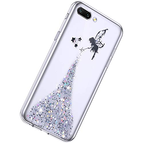 Herbests Kompatibel mit Huawei Honor 10 Hülle Glitter Bling Glitzer Sterne Engel Mädchen TPU Silikon Hülle Schutzhülle Transparent Stoßfest Ultra Dünn Durchsichtig Clear Handyhülle,Silber