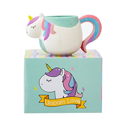 3D Unicorn Mug 12 oz Ceramic With Rainbow Gift Box  Perfect Tea And Coffee Mugs For Gifts Microwave and Dishwasher Safe by Prana Products