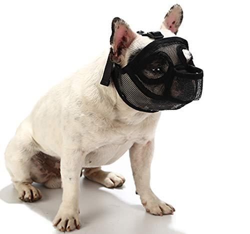 PETEMOO Museruole per Cani dal Muso Corto, museruola per Cani Traspirante per Cani Bulldog e Razze dal Muso Corto per mordere la Maschera per Cani da Masticare