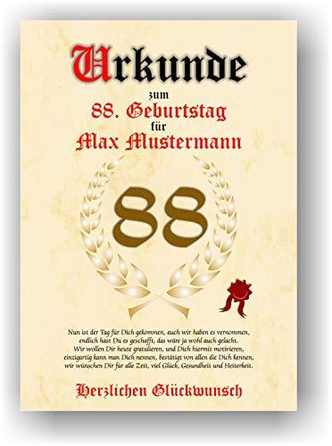 Urkunde zum 88. Geburtstag - Glückwunsch Geschenkurkunde personalisiertes Geschenk Oma Opa mit Name Gedicht und Spruch Karte Präsent Geschenkidee Mann Frau DIN A4