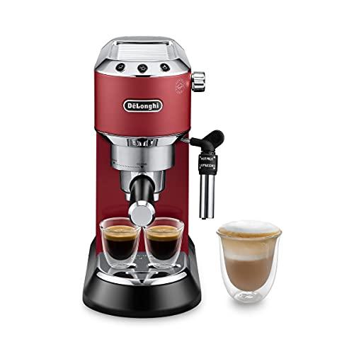 De'Longhi Dedica EC685.R Macchina da Caffè Espresso Manuale e Cappuccino, Caffè in Polvere o in Cialde E.S.E., Pompa a 15 bar, 1350 W, Rosso