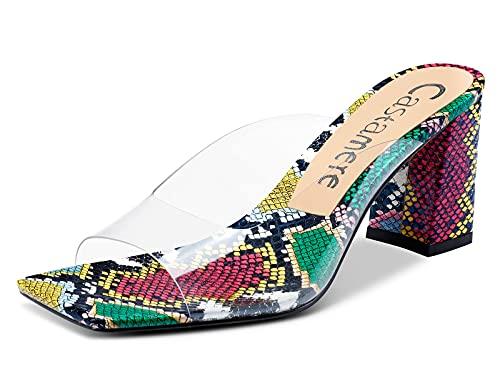 CASTAMERE Mujer Sandalias Slingback Transparente Punta Abierta Ancho Tacón 7.5CM Heel Multicolor Serpiente Zapatos EU 41