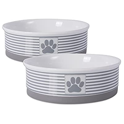 "DII Bone Dry Paw Patch & Stripes Ceramic Pet Bowl for Food & Water with Non-Skid Silicone Rim for Dogs and Cats (Large - 7.5"" Dia x 2.4""H) Gray - Set of 2"