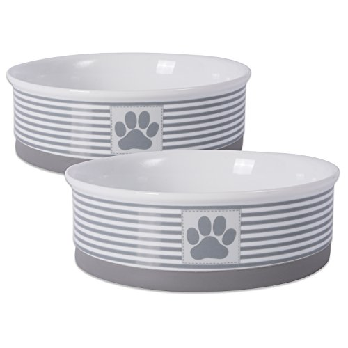 Bone Dry Paw Patch & Stripes Ceramic Pet Bowl & Canister Collection, Large Bowl Set - 7.5 x 7.5 x 2.4, Gray, 2 Piece