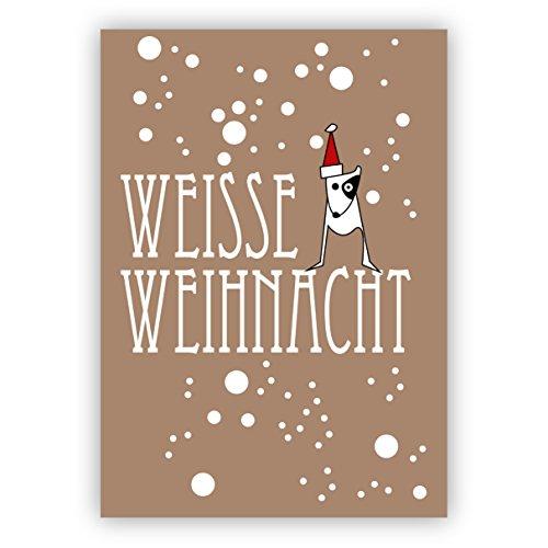 1 grappige kerstkaart met hondje in de sneeuwrasp: witte kerstmis • als liefdevolle kerstpost voor jaarwisseling voor familie en bedrijf.
