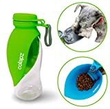 Colapz Portable Dog Water Bottle - Pet Food and Water Dispenser - Puppy and Dog Travel Accessories - Large 500ml Capacity - Green