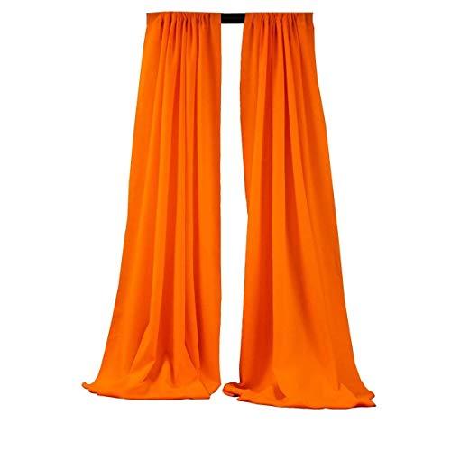 "Backdrop King Inc, Polyester Poplin Backdrop Drape Curtain Panel with 4"" Rod Pocket (Orange, 5 Feet Wide x 20 Feet High 2 Panels)"