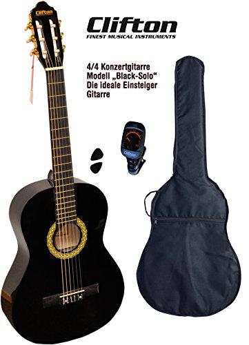 Clifton 44guitarra de concierto Black solo funda acolchada Afinador Digital Con rückengarniture