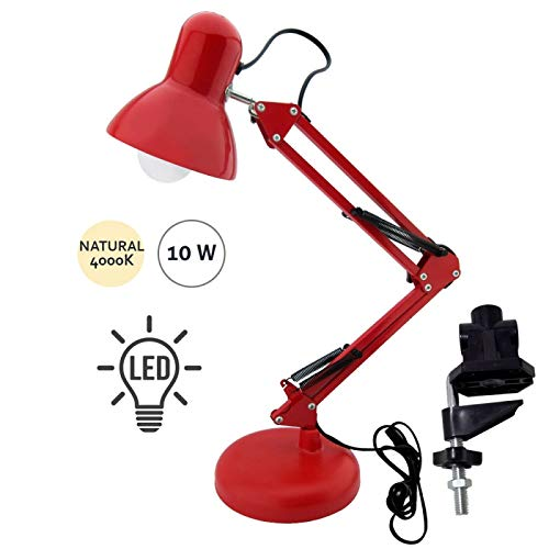 Lampe de bureau Flexo Série Antigona articulable Rouge avec ampoule DEL