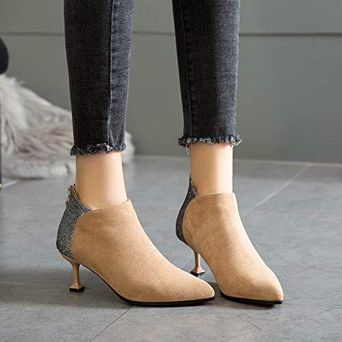 Shukun enkellaarsjes Women'S Boots lente en herfst enkele laarzen zwart Martin laarzen studenten met wilde kleine hak laarzen Women'S Schoenen