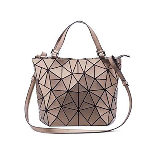 DACHANGTUI Women's Geometric Handbag Shoulder Bag Messenger Bag Luminous Unique Large Fragment Plaid Green Leather Rainbow Holographic Ladies Handbag, Zipper Closure