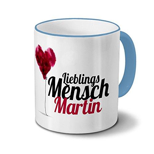 printplanet Tasse mit Namen Martin - Motiv Lieblingsmensch - Namenstasse, Kaffeebecher, Mug, Becher, Kaffeetasse - Farbe Hellblau