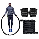 Brobantle Weighted Jump Rope Workout Exercise Heavy Jump Rope with Non-Slip Gloves Core Strength Training Equipment Conditioning Rope Fitness Exercise Rope Heavy Battle Rope for Speed Training