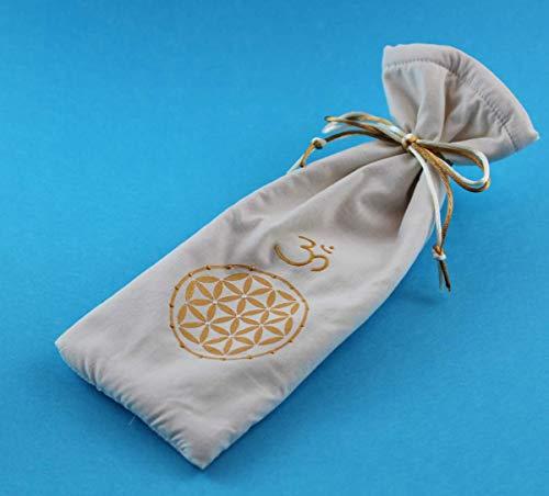 Beutel für Kristallstab mit Lebensblume und Om, Weiche Tasche mit Blume des Lebens für Heilstab, Schutzhülle für Zauberstab und Althame, INaCHI Glücksbringer Design-Serie