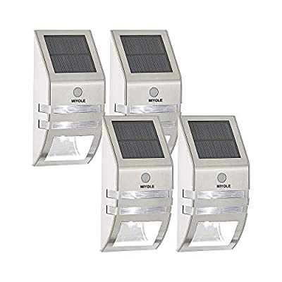 Solar Powered Security Wall Lights Outdoor MIYOLE Stainless Steel Solar Motion Sensor Lights for Front Door Patio Deck Yard Garden Fence Porch Pack of 4