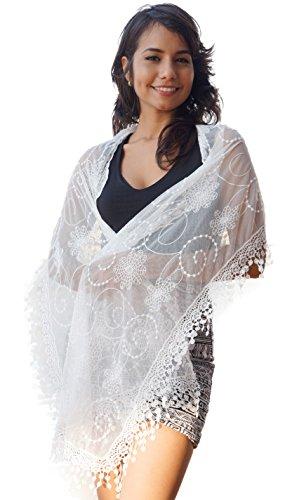 Women's lightweight Feminine lace teardrop fringe Lace Scarf Vintage Scarf Mesh Crochet Tassel Cotton Scarf for Women (WHITE)