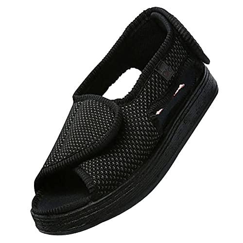 Ajustable Cómoda Artritis Edema Zapatos hinchados,zapatillas ajustables, cierre de velcro, sandalias, pies anchos abiertos, zapatillas para ancianos,Black-36