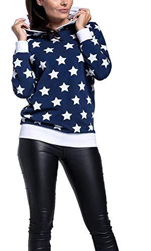 Mutterschaftshoodie Femmes Hoodies Long Pull Sweat Shirt À Vêtements Manches Capuche Star De L Allaitement Lactation Mentale Double Couche Shirt Bleu L (Color : Blau, Size : L)