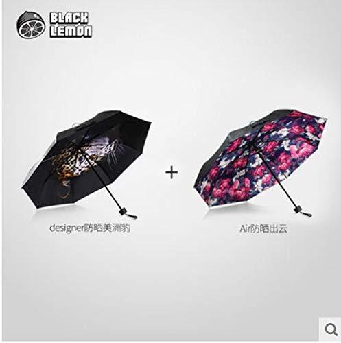 BLACKLEMON Black Lemon Designer Doppel-Sonnenschirm + Luft-Sonnenschutz Schwarzer Sonnenschirm-Faltanzug Aus Gummi B