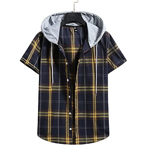JELLYB Casuales Camisas Hombre Clásica Moda Holgada Shirt Cuadros Estampado Correr Shirt Botón Placket Cuello V Causal Casual Wicking Transpirable Hombre Capucha T-Shirt K-Blue 2 XL