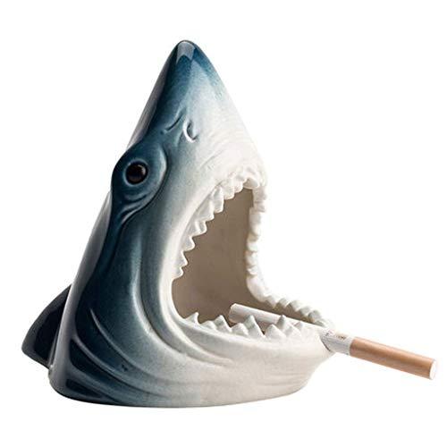 Tiburón, Cigarrillos al Aire Libre para el Patio Tabletop Humo Ash Bandeja Decoración Niza Regalo para el hogar/Soporte de Oficina para la Bandeja de Cenizas de cigarros (Color: Azul) BJY969